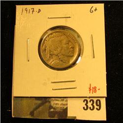 1917-D Buffalo Nickel, G+, value $18