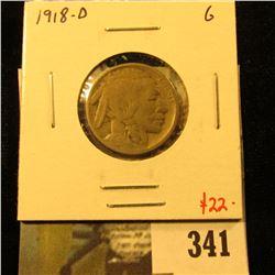 1918-D Buffalo Nickel, G, value $22