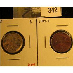 (2) Buffalo Nickels, 1919-D G & 1919-S G+ dark, pair value $20