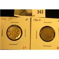 (2) Buffalo Nickels, 1920 VF & 1920-D G, pair value $15