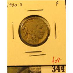 1920-S Buffalo Nickel, F, value $28