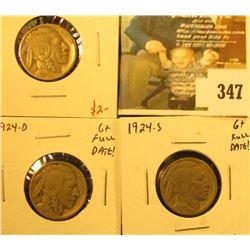 Group of 3 Buffalo Nickels, 1924 VG, 1924-D G+ full date, 1924-S G+ full date, group value $28+