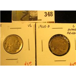 (2) Buffalo Nickels, 1925 VG & 1925-D G, rotated reverse, pair value $13+