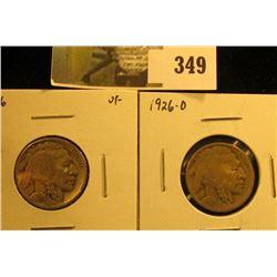 (2) Buffalo Nickels, 1926 VF & 1926-D VG, pair value $15