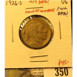 1926-S Buffalo Nickel, VG, KEY DATE, lowest mintage, value $45
