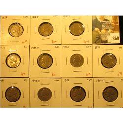Group of (11) better date Jefferson Nickels, 1938PDS, 1939PDS, 1940, 1941, 1942-D, 1950, 1951-S, cir