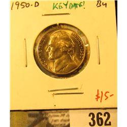 1950-D Jefferson Nickel, BU, key date! Value $15