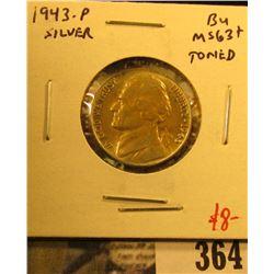 1943-P Jefferson Nickel, BU MS63+ toned, value $8