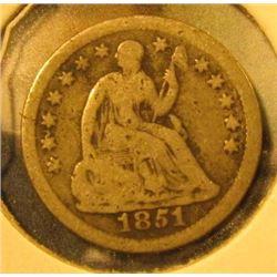 1851-O Seated Liberty Half Dime, G, value $25