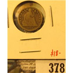 1857 Seated Liberty Half Dime, G, value $18
