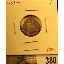 1858-O Seated Liberty Half Dime, F, value $30