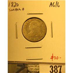 1820 Bust Dime, small 0, AG/G, value $30