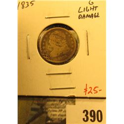 1835 Bust Dime, G with light damage, value $25