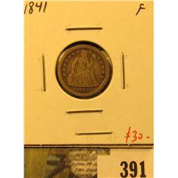 1841 Seated Liberty Dime, F, value $30