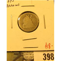 1873 Arrows Seated Liberty Dime, G, value $18