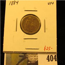1884 Seated Liberty Dime, VF+, value $25