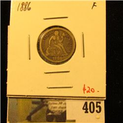 1886 Seated Liberty Dime, F, value $20