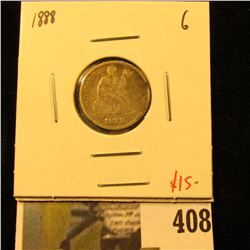 1888 Seated Liberty Dime, G, value $15