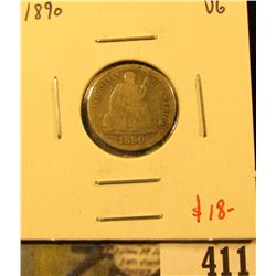 1890 Seated Liberty Dime, VG, value $18
