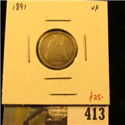 1891 Seated Liberty Dime, VF, value $25