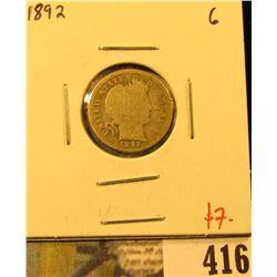 1892 Barber Dime, G, value $7