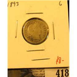 1893 Barber Dime, G, value $8