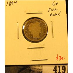 1894 Barber Dime, G+, full rims, value $30