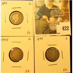 Group of (3) Barber Dimes, 1897, 1898, 1899, all G, group value $12