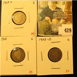 Group of (3) Barber Dimes, 1907-O, 1908, 1908-D, all G, group value $12