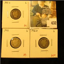 Group of (3) Barber Dimes, 1911-S, 1912, 1912-D, all G, group value $12