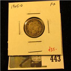 1905-O Barber Dime, F+, value $35