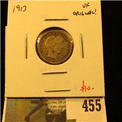 1913 Barber Dime, VF, value $10