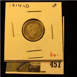 1914-D Barber Dime, VF, value $10