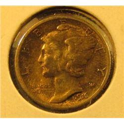 1916 Mercury Dime, AU+ toned, value $25