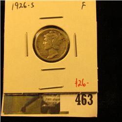 1926-S Mercury Dime, F, semi-key date, value $26