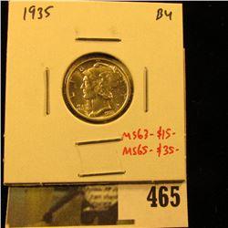 1935 Mercury Dime, BU, MS63=$15, MS65-$35, value $15 to $35
