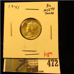1941 Mercury Dime, BU MS64+ toned, value $18