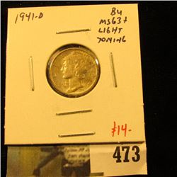 1941-D Mercury Dime, BU MS63+ light toning, value $14