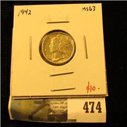 1942 Mercury Dime, BU MS63, value $10