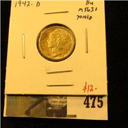 1942-D Mercury Dime, BU MS63+ toned, value $12