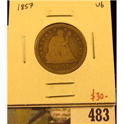 1857 Seated Liberty Quarter, VG, value $30
