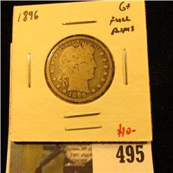 1896 Barber Quarter, G+ full rims, value $10
