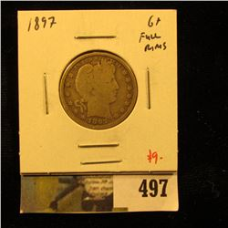 1897 Barber Quarter, G+ full rims, value $10