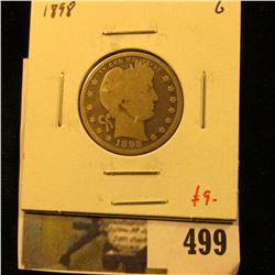 1898 Barber Quarter, G, value $9