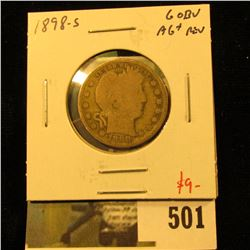 1898-S Barber Quarter, G obverse, AG+ reverse, better date, value $9
