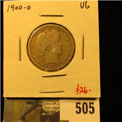 1900-O Barber Quarter, VG, better date, value $26