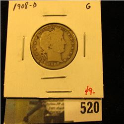 1908-D Barber Quarter, G, value $9