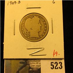 1909-D Barber Quarter, G, value $9