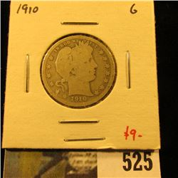 1910 Barber Quarter, G, value $9