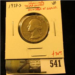 1937-S Washington Quarter, VF, semi-key date, third lowest mintage of series, value $30